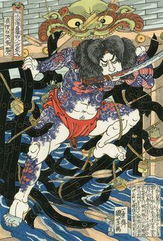 """White Streak in the Waves Zhang Shun (浪裡白跳張順), from the series """"The 108 Heroes of the Popular Suikoden (Tsuzoku Suikoden goketsu hyaku-hachi-nin no hitori)"""" / Utagawa Kuniyoshi (Japanese Ukiyo-e Printmaker, ca.1797-1861)"""