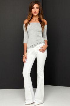 Dittos Christine White Flare Jeans at Lulus.com!