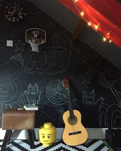 Childs bedroom with chalk paint wall, blackboard paint