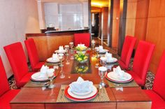 Dining Room at President Suite Room #dinner #table #setup #red #deco #decoration #hotel #presidentsuite #travel Semarang, Table Settings, Tower, Dining Room, Dinner, Decor, Dining, Rook, Decoration