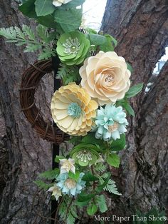 Handmade Paper Flower Wreath - Enchanted - Home Decor