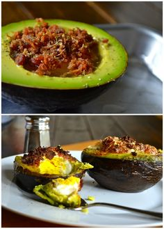 Best Breakfast EVER! Bacon & Egg Baked Avocados (just scoop a bit of the avocado out, crack in an egg, sprinkle with bacon and salt & pepper and bake)