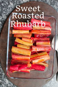 Food Lust People Love: Sweet roasted rhubarb with a hint of orange and vanilla makes the perfect accompaniment to ice cream cake or yogurt. We also love it topped with double cream or baked in an upside down cake. Easy Rhubarb Recipes, Rhubarb Desserts, Fruit Recipes, Vegetable Recipes, Healthy Recipes, Yummy Recipes, Rhubarb Uses, Rhubarb Rhubarb, Almond Bundt Cake Recipe