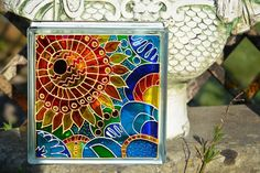 Painted Glass Block / Pop Art Sunflower / par OrnatelyLanterns