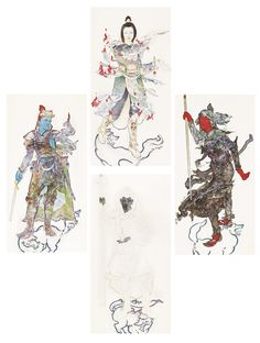 """YAMAGUCHI Akira - Four panel (incomplete) series of the four Shitennō. The Shitennō are Buddhist protectors of the four directions. They ward off evil, guard the nation, and protect the world from malicious spirits, hence the Japanese term Gose Shitennō 護世四天王, literally """"four world-protecting deva kings."""" Each represents a direction, season, color, virtue, and element."""