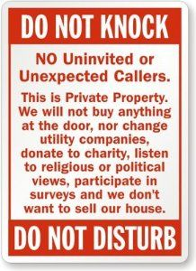 "Amazon.com: Do Not Knock - No Uninvited Or Unexpected Callers, This Is Private Property - Do Not Sign, 10"" x 7"": Patio, Lawn & Garden"