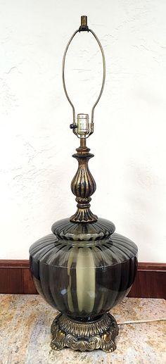 Mid Century Vintage Iridescent Hurricane Table Lamp