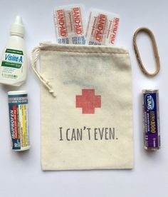 Bachelorette Hangover Kit Bags I Can't Even by PaperPeonyDesigns