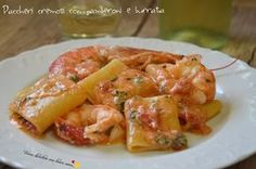 Paccheri cremosi con gamberoni e burrata Creamy paccheri with prawns and burrata: a combination . Fish Recipes, Pasta Recipes, Cooking Recipes, Healthy Recipes, Italian Pasta, Pasta Dishes, My Favorite Food, Finger Foods, Italian Recipes