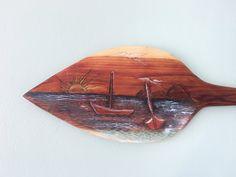 Hand Carved Cedar Boat Oar Ocean Scene Carving by EcoArtWoodDesign