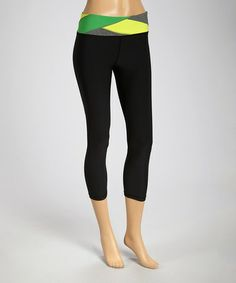 Look what I found on #zulily! Black & Green Yoga Pants #zulilyfinds