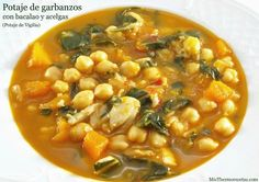 Potaje de garbanzos con bacalao y acelgas - MisThermorecetas.com Fish Recipes, Soup Recipes, Vegetarian Recipes, Fish Dishes, Main Dishes, Easy Cooking, Cooking Recipes, Bette, Small Meals