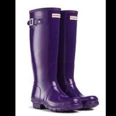 Purple hunter rain boots! Great condition Purple rain boots; very lightly used Hunter Boots Shoes Winter & Rain Boots