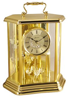 #anniversary #clock by #loricron - 3 chime settings: Bim Bam, Westminster, silent fully automatic hour strike no programming required night volume reduction option all metal six sided brass and glass case crystal cut pendulum convenient shut off switch for silencing chimes