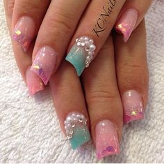 Pale pink and teal (mint green) acrylic nail fade. Lipstick nails with pink Mylar & 3d pearls/crystals nail art.  KCNails