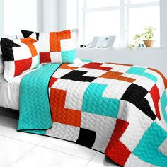 Instantly add some contemporary elegance and style to your bedroom with this 3 piece Vermicelli Patchwork Quilt Set. This beautiful handmade quilt set fits a full and queen size bed and includes one q