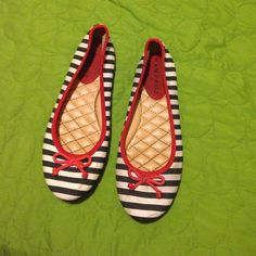 Cute red , white and blue flats . Nice for fall Red , white and blue with blue stripes . Rampage Shoes Flats & Loafers