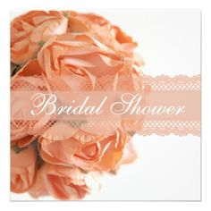 Peach Roses and Lace Bridal Shower Invitation