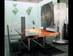 Nella Vetrina Rugiano Decoro 4023 upholstered dining table painted