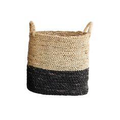 Black + Natural Storage Basket - Small: Storage baskets with a black painted dipped effect. Perfect for storage, displaying favourite items or even as a plant pot, as seen on Instagram (@minkinteriors) 35x26 cm, height 34 cm