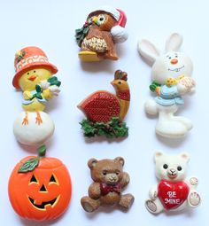 Lot of 7 Vintage 1970's-1980's Hallmark Brooch Pins Christmas, Halloween, Thanksgiving, Easter by paststore on Etsy