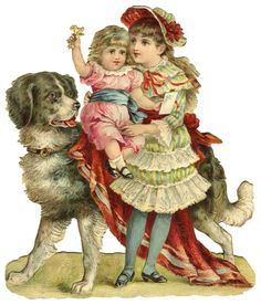 Picture of Victorian Children with Their Pet Dog @ Vintage Fangirl...free images