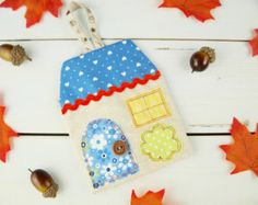 Fragrant moth repellent lavender appliqué house hanging decoration - Blue love hearts