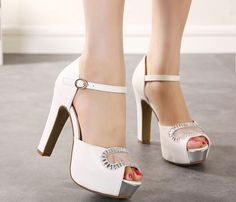 Luxury Ivory White Glitter Wedding Shoes: Sandals Elegant Bridal Shoes Pumps Platform High Thick Heels