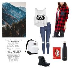 """Untitled #47"" by obrien91 ❤ liked on Polyvore featuring Topshop, S'well, JanSport and Aéropostale"
