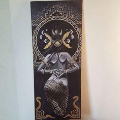 Added some gold to it. What do you guys think? #figureart #acrylic #painting #aztec #goddess #stargazer #mandala #visionaryart #johngayart