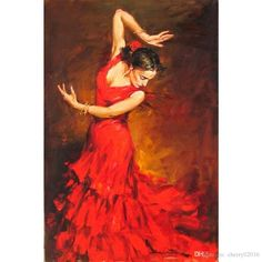 125 cm Red Dress Flamenco Dancer Oil Painting on Canvas Large Abstract Portrait Canvas Wall Art for Living Room Decoration Art Expo, Spanish Dancer, Spanish Art, Dance Paintings, Painting Art, Beautiful Paintings, Art Oil, Art Photography, Art Gallery
