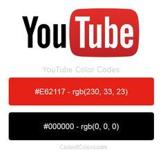 Resultado de imagen para código rgb de youtube Tube Youtube, Youtube Logo, Rgb Color Codes, Social Media Site, Colour Schemes, Strip Lighting, Adobe Illustrator, Palette, Printables