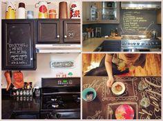 Crea tu propia pintura de pizarrón. #sustentable #ecologico   Para hacer la pintura en casa, combina una taza de pintura de latex (de cualquier color) con dos cucharaditas de lechada sin arena (de la que se usa para poner azulejos). Aplica varias capas y una vez que se seque pasa una lija hasta que quede liso.