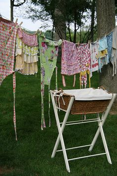 Why does my laundry never look this pretty? :)  I love the basket though, also prettier than mine. Maybe I'd enjoy doing laundry more if I had such a pretty basket! ;)  *******************************************  GardensofSimple - #laundry #farmhouse #clothesline - tå√