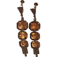 Vintage Signed Theodor Fahrner German Art Deco Sterling Silver Citrine & Marcasite Dangle Earrings