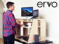 Perch Products is raising funds for ERVO - A Revolutionary Sit-to-Stand Desk on Kickstarter! A revolutionary sit-to-stand desk, beautifully designed to be the most customizable and affordable sit-to-stand desk in the market. Sit To Stand, Stand Up Desk, Arise And Shine, Desks For Small Spaces, Best Desk, L Shaped Desk, Workspace Design, Sewing Table, Cool Items