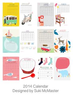 2014 Calendar free shipping by yessweetheart on Etsy