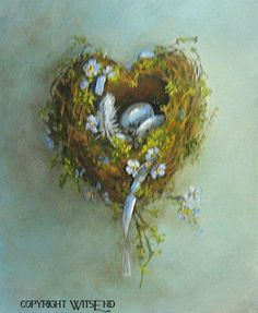'LOVE NEST', Bird Nest painting art Heart shaped nest with eggs by WitsEnd, via Etsy  SOLD