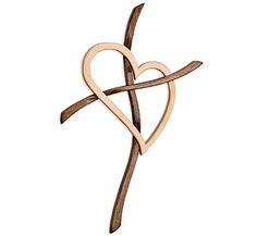 """Promise Cross Scroll Saw Pattern Fluid & graceful, the Promise Cross is entwined with a heart which symbolizes the Father's love, the gift of His Son & the promise that """"whoever believes in Him shall not perish, but have eternal life""""."""