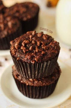 These Chocolate Banana Muffins are gluten-free, grain-free and dairy-free. Super rich and decadent!