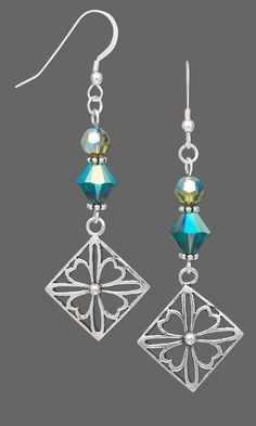 Earrings with Swarovski Crystal Beads and Sterling Silver Drops