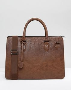 ASOS Briefcase In Brown Faux Leather