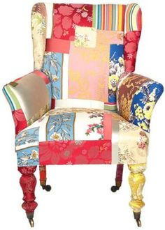 Waste not, get a great chair. Here's one thing you can do with those fabric samples... even the legs are wrapped in fabric. Save a chair!