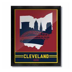 Cleveland, Ohio Skyline Poster Print: Wall Art - Wine/Gold Basketball
