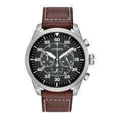 Citizen Avion: Mens Brown Leather Strap Black Dial Steel Wrist Watch CA4210-24E