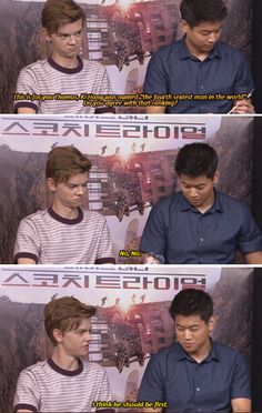 Thomas Sangster and Ki Hong Lee Maze Runner Funny, Maze Runner The Scorch, Maze Runner Thomas, Maze Runner Movie, Maze Runner Trilogy, Maze Runner Series, The Scorch Trials, Memes, Thomas Brodie Sangster