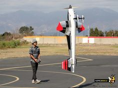"Pete bringing the 87"" 30% Slick 540 50cc Gas Gen 2 ARF RC Airplane Black/Red down low on its maiden flight!"