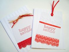 White Red Birthday Cards Embossed Gift Tags 2 cards by by Wcards