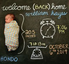 Birth Announcment Baby Chalkboard - Monthly Updates - Full Gallery