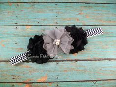 Navy Blue & Gray Chiffon Tulle Flower Navy Chevron Headband - Newborn - Infant - Baby - Toddler - Girl - Adult - Photo Prop